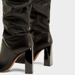 Zara over the knee high heel leather boots